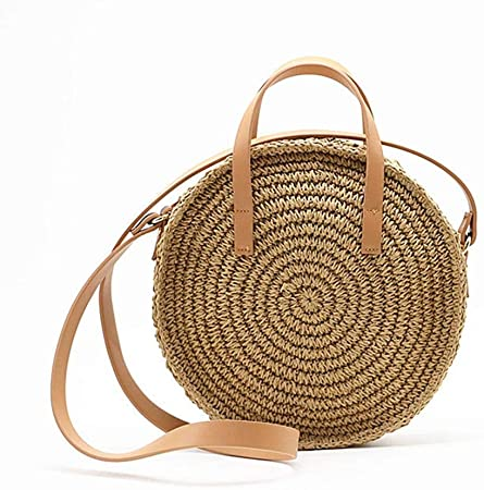 leather straw shoulder bag